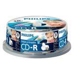 Philips CD-R80IW 52x nyomtatható cake box lemez 25db/csomag