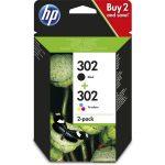 HP X4D37AE 302 tri-color és fekete tintapatron csomag