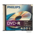 Philips DVD-R 4,7 GB 16x slim tokos DVD lemez